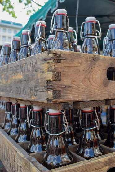 Close up of beer bottles at Berlin Beer Festival