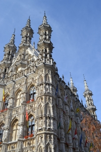 A very intircate and detailed building church in Belgium Leuven with spires and statues