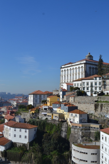 Building on the hillside in Porto with blue skies in the winter Portugal