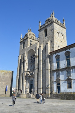 Huge church in Porto made of stone up on the hill side Portugal
