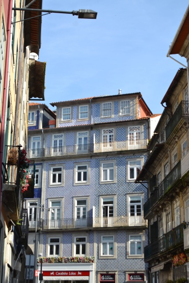 Tiled building front in Porto blue patterned tiling in the street Portugal traditional tiles