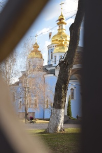 Blue Church in Kyiv Ukraine with golden domed roof