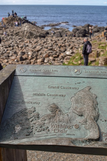 The Giants Causeway information Sign at the tourist attraction in Northern Ireland