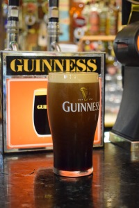 Pint of Guinness on the bar in Northern Ireland