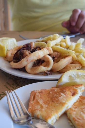 Greek food plate in Greek restaurant Calamari Fried Squid and Cheese Dinner