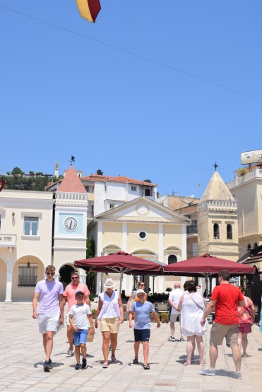 Cream coloured buildings in sunny square in Zante Town Greece