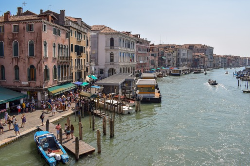 A view from the Rialto Bridge of tge grand canal a classic view in Venice Italy