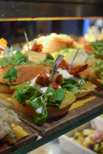A close up of some small plates tapas Cicchetti in Venice Italy